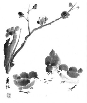 Picture 1 - Chickens Under A Plum Tree - 41 kB